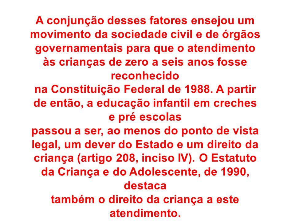 A conjunção desses fatores ensejou um movimento da sociedade civil e de órgãos governamentais para que o atendimento às crianças de zero a seis anos f