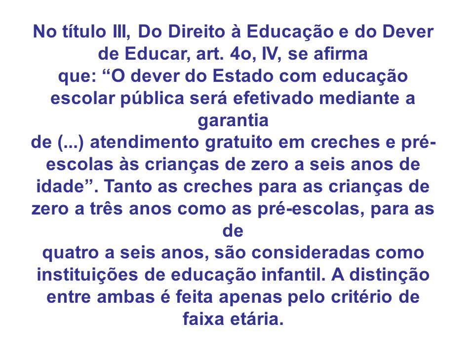 No título III, Do Direito à Educação e do Dever de Educar, art. 4o, IV, se afirma que: O dever do Estado com educação escolar pública será efetivado m