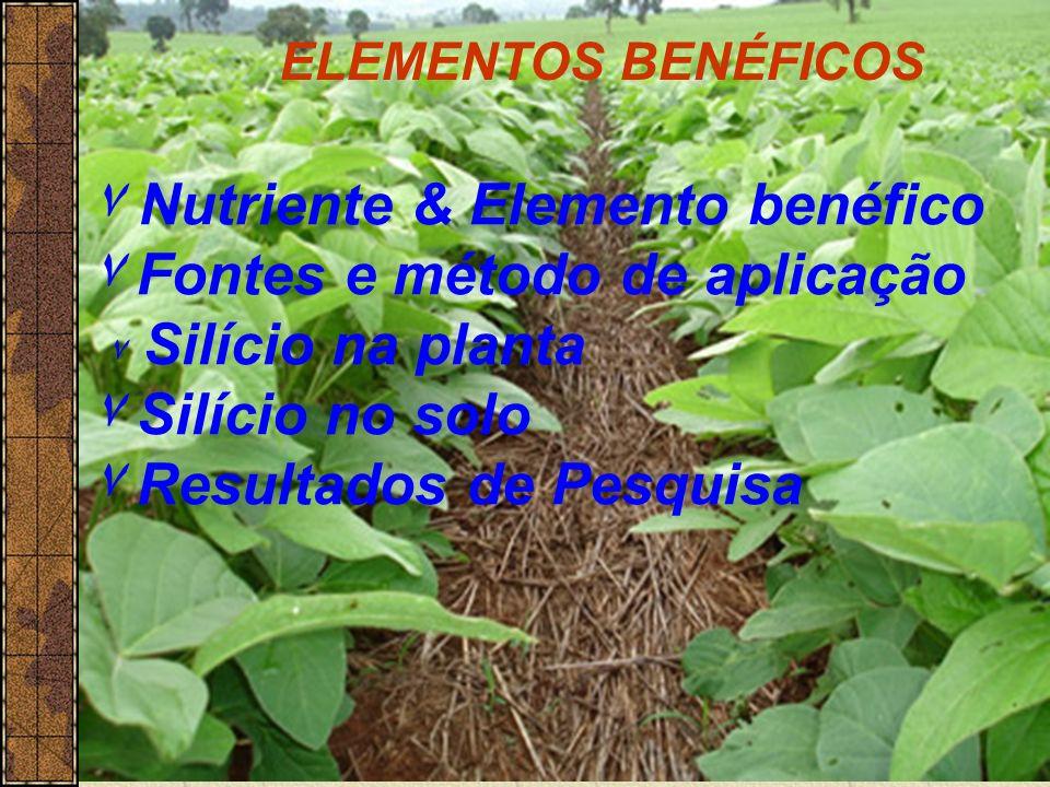 Natureza: >100 elementos Na planta: Total:40-50 elementos 16 elementos são Essenciais Essencial (sem ele a planta não vive) Benéfico (aumenta o crescimento e a produção em situações particulares.