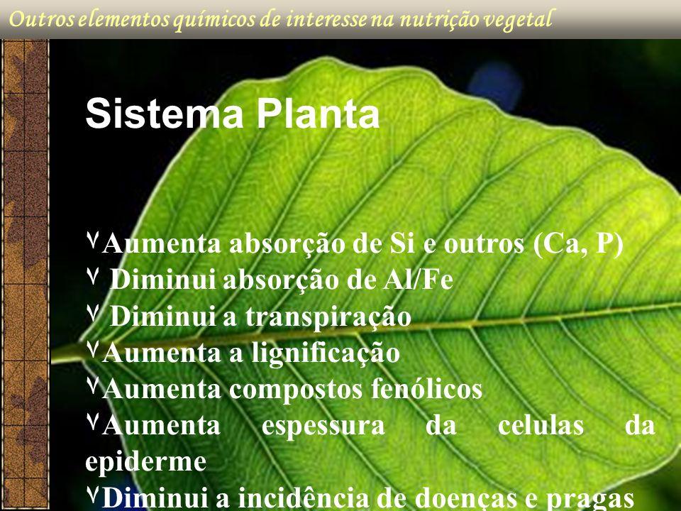 Outros elementos químicos de interesse na nutrição vegetal Sistema Planta ۷Aumenta absorção de Si e outros (Ca, P) ۷ Diminui absorção de Al/Fe ۷ Dimin
