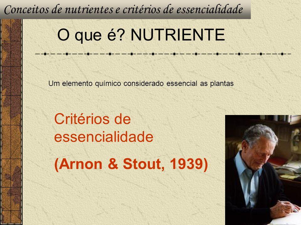 O que é? NUTRIENTE Um elemento químico considerado essencial as plantas Critérios de essencialidade (Arnon & Stout, 1939) Conceitos de nutrientes e cr