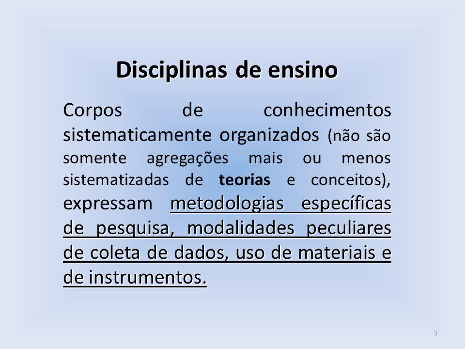 Disciplinas de ensino metodologias específicas de pesquisa, modalidades peculiares de coleta de dados, uso de materiais e de instrumentos. Corpos de c