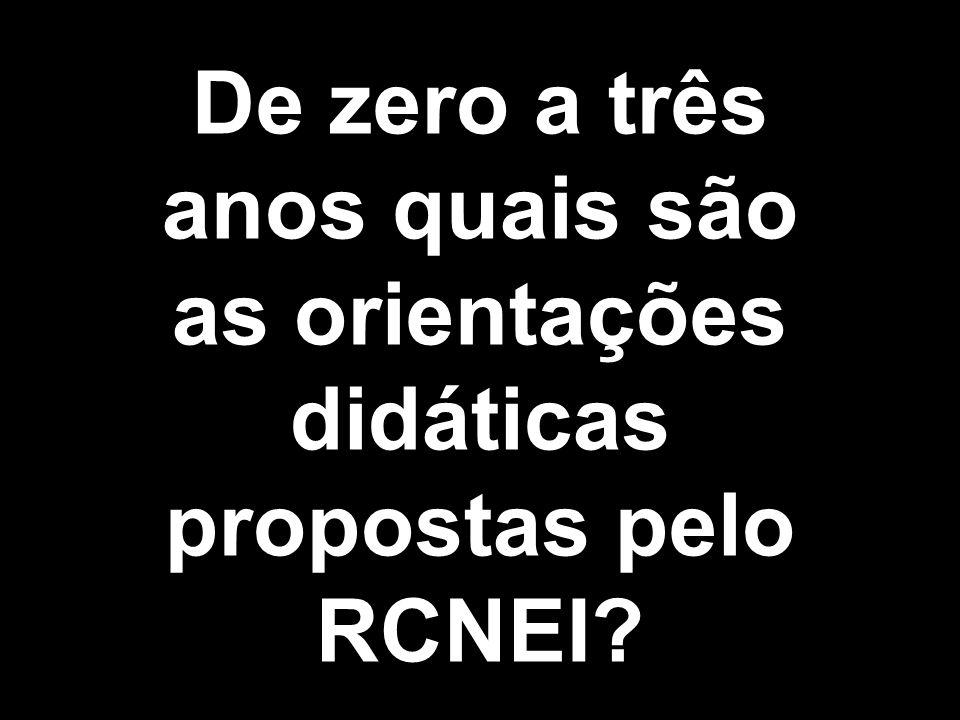 De zero a três anos quais são as orientações didáticas propostas pelo RCNEI?
