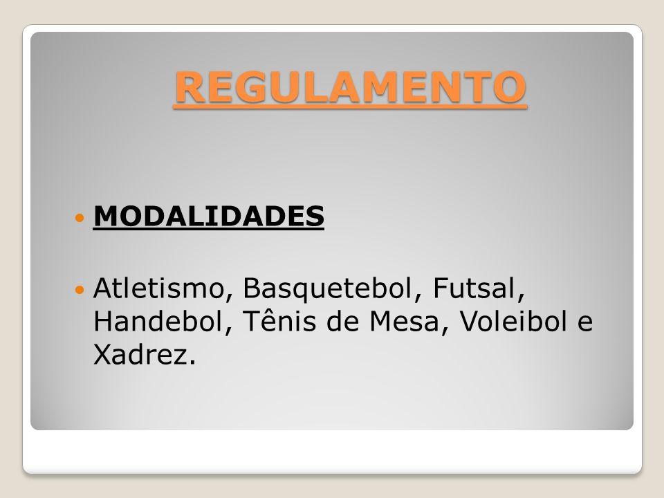 REGULAMENTO MODALIDADES Atletismo, Basquetebol, Futsal, Handebol, Tênis de Mesa, Voleibol e Xadrez.