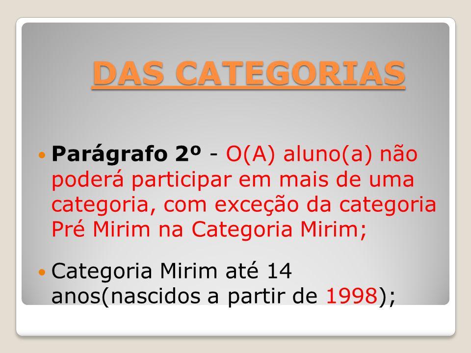 DAS CATEGORIAS Parágrafo 2º - O(A) aluno(a) não poderá participar em mais de uma categoria, com exceção da categoria Pré Mirim na Categoria Mirim; Cat
