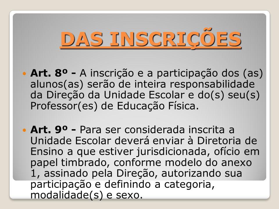 DAS INSCRIÇÕES DAS INSCRIÇÕES Art. 8º - A inscrição e a participação dos (as) alunos(as) serão de inteira responsabilidade da Direção da Unidade Escol