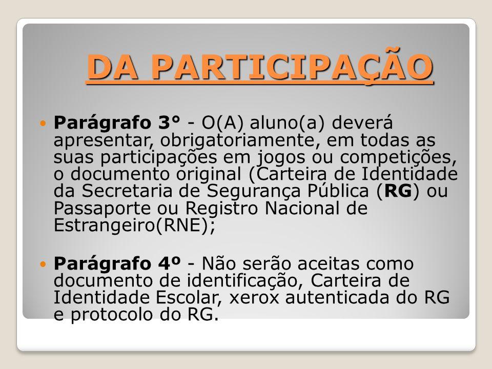 DA PARTICIPAÇÃO Parágrafo 3° - O(A) aluno(a) deverá apresentar, obrigatoriamente, em todas as suas participações em jogos ou competições, o documento