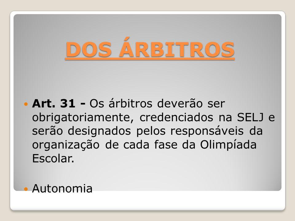 DOS ÁRBITROS Art. 31 - Os árbitros deverão ser obrigatoriamente, credenciados na SELJ e serão designados pelos responsáveis da organização de cada fas