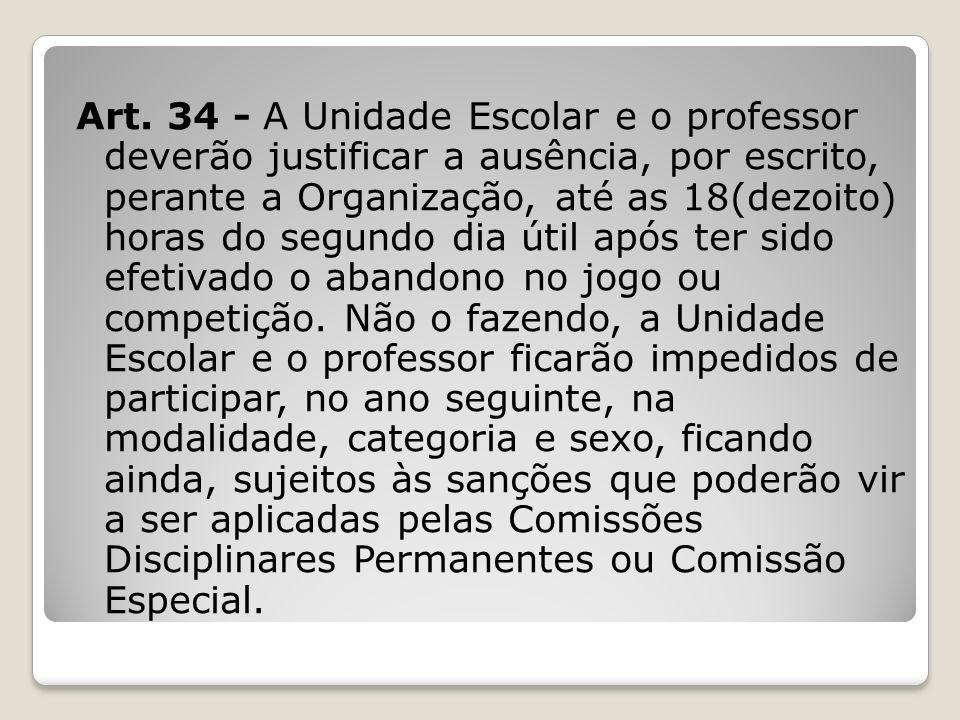 Art. 34 - A Unidade Escolar e o professor deverão justificar a ausência, por escrito, perante a Organização, até as 18(dezoito) horas do segundo dia ú