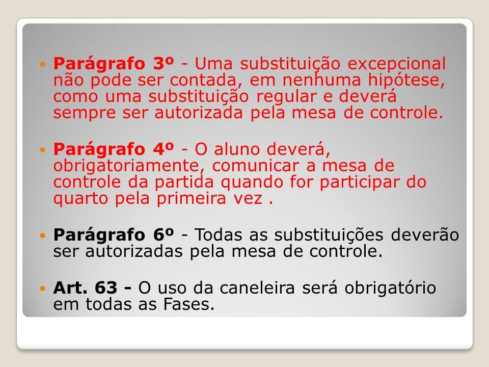 Parágrafo 3º - Uma substituição excepcional não pode ser contada, em nenhuma hipótese, como uma substituição regular e deverá sempre ser autorizada pe