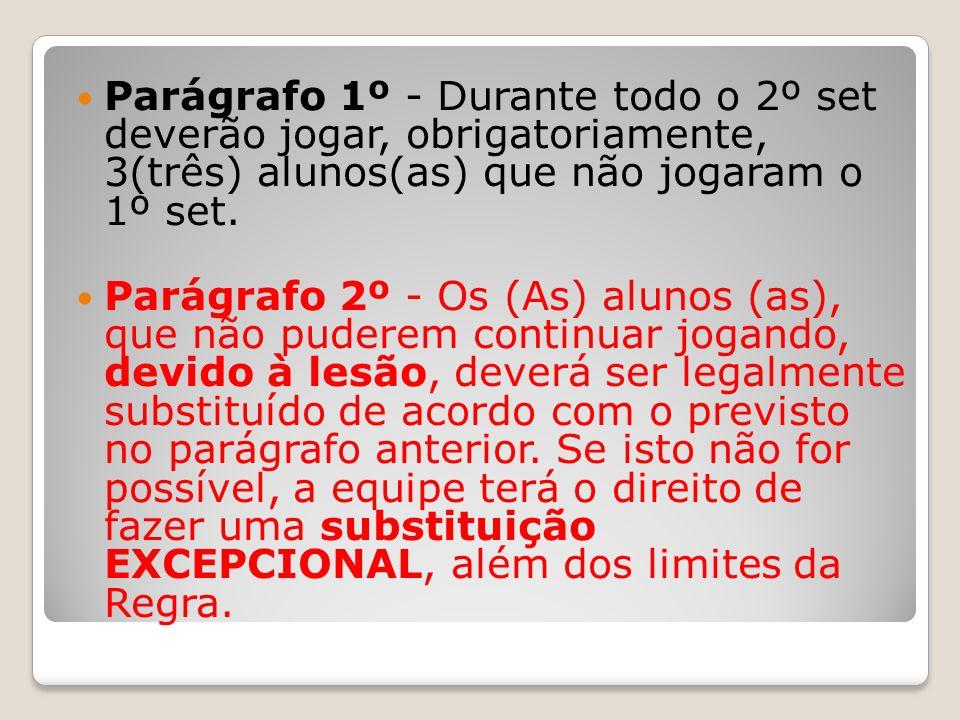 Parágrafo 1º - Durante todo o 2º set deverão jogar, obrigatoriamente, 3(três) alunos(as) que não jogaram o 1º set. Parágrafo 2º - Os (As) alunos (as),