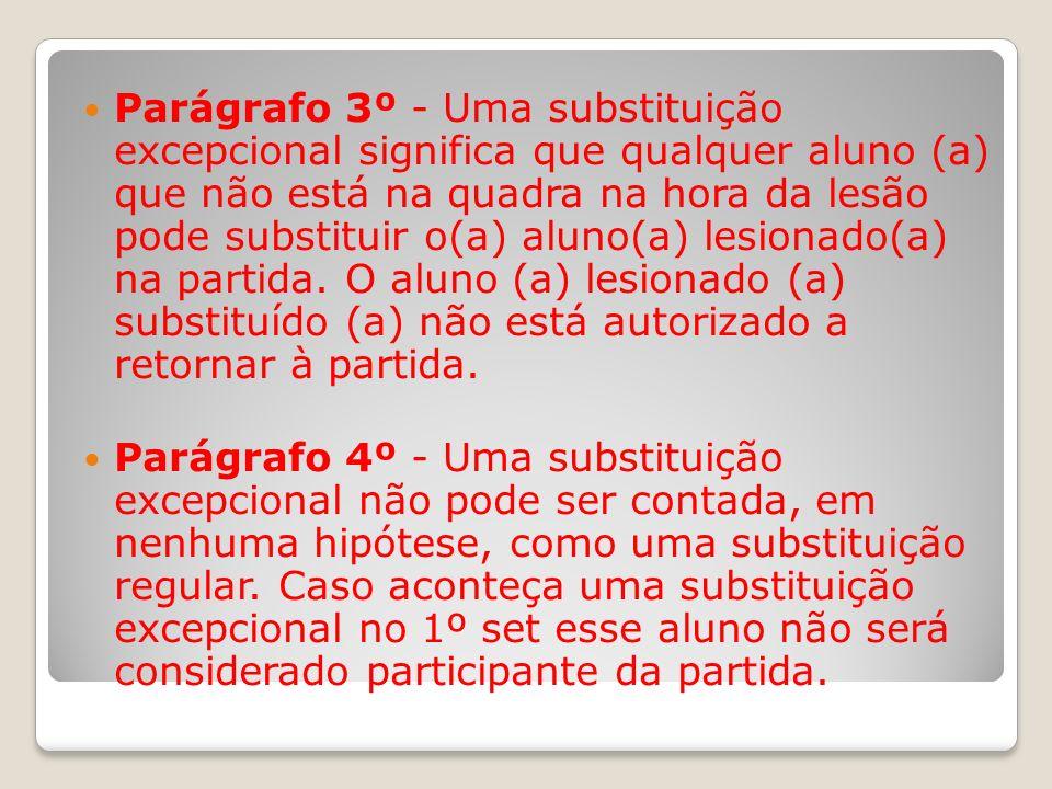 Parágrafo 3º - Uma substituição excepcional significa que qualquer aluno (a) que não está na quadra na hora da lesão pode substituir o(a) aluno(a) les