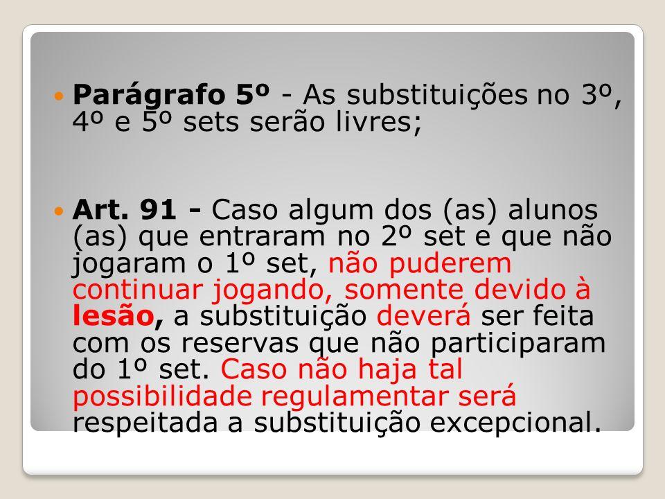 Parágrafo 5º - As substituições no 3º, 4º e 5º sets serão livres; Art. 91 - Caso algum dos (as) alunos (as) que entraram no 2º set e que não jogaram o