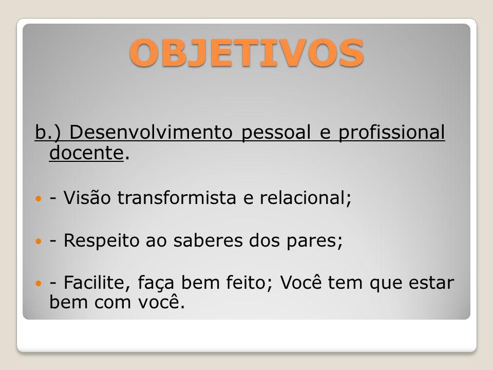 OBJETIVOS b.) Desenvolvimento pessoal e profissional docente. - Visão transformista e relacional; - Respeito ao saberes dos pares; - Facilite, faça be