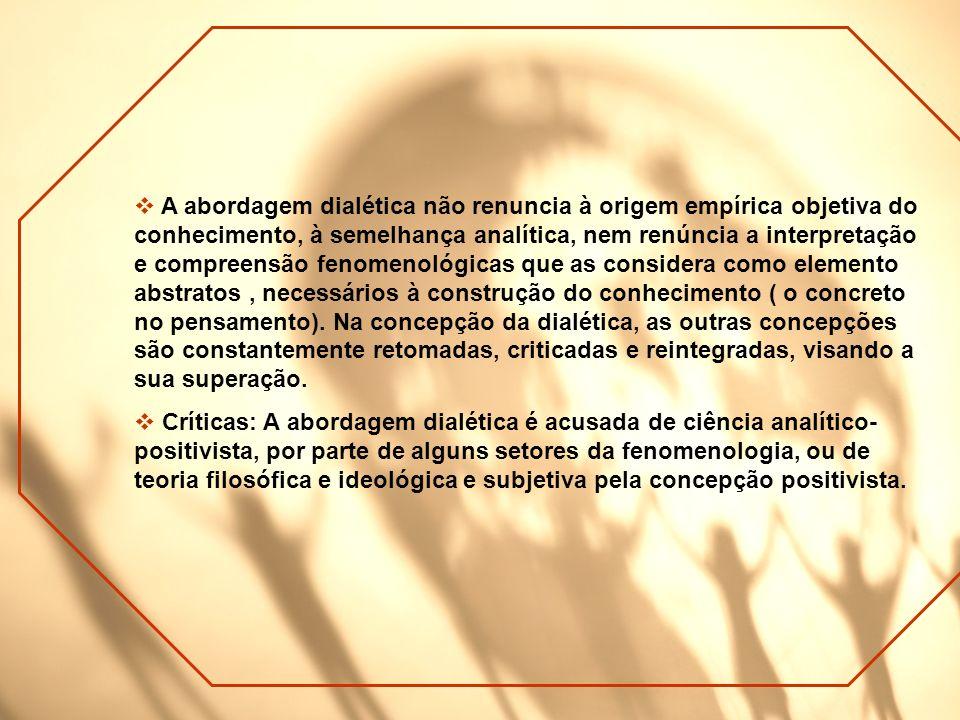 A abordagem dialética não renuncia à origem empírica objetiva do conhecimento, à semelhança analítica, nem renúncia a interpretação e compreensão feno