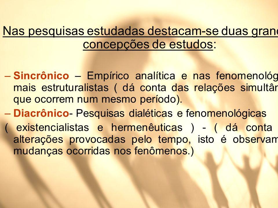 Nas pesquisas estudadas destacam-se duas grandes concepções de estudos: –Sincrônico – Empírico analítica e nas fenomenológicas mais estruturalistas (