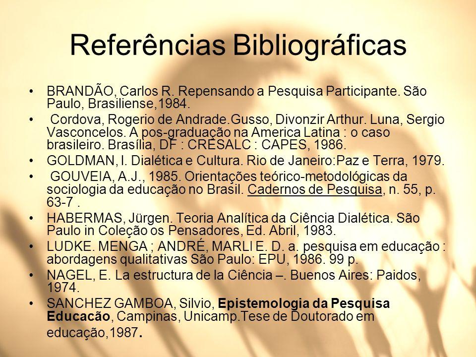 Referências Bibliográficas BRANDÃO, Carlos R. Repensando a Pesquisa Participante. São Paulo, Brasiliense,1984. Cordova, Rogerio de Andrade.Gusso, Divo