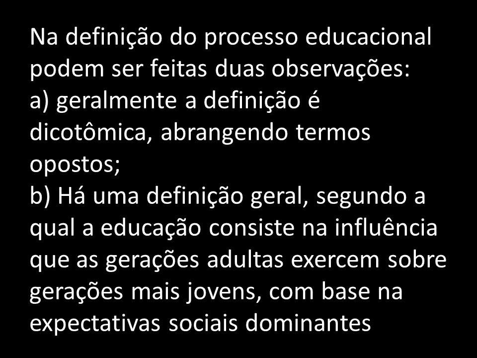 O entendimento da educação como processo histórico, dinâmico, permite- nos a superação, provisória e permanente, das dicotomias envolvidas no processo educacional: