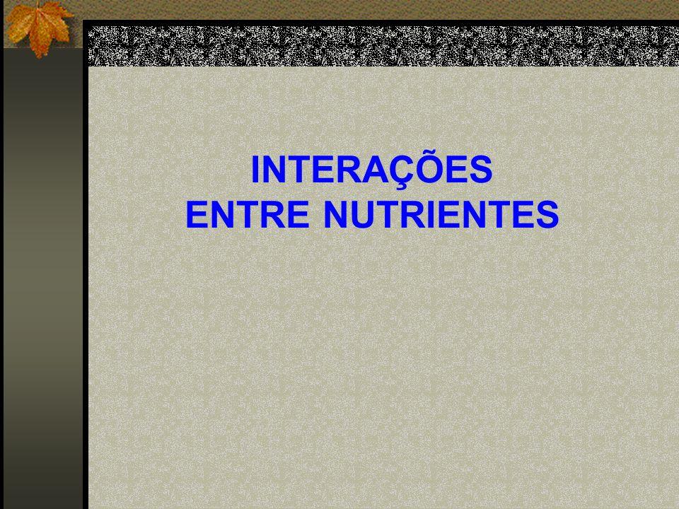 INTERAÇÕES ENTRE NUTRIENTES RelaçãoFaixasRel.Faixas N/P16-18P/Cu125-187 N/K1,3-1,4P/Zn125-187 N/S16-18Ca/Mg66-75 K/Ca1,7-2,1B/Zn5,0-7,3 K/Mg6,1-6,6Cu/Zn1 N/B400-457Fe/Mn0,73-0,85 N/Cu2000-3375 Relações entre nutrientes foliares considerados adequados para o cafeeiro 1 (Malavolta, 1996).