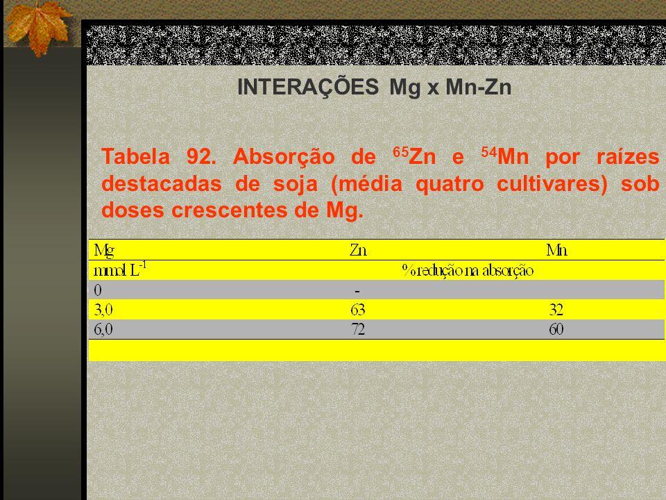 INTERAÇÕES Mg x Mn-Zn Tabela 92. Absorção de 65 Zn e 54 Mn por raízes destacadas de soja (média quatro cultivares) sob doses crescentes de Mg.
