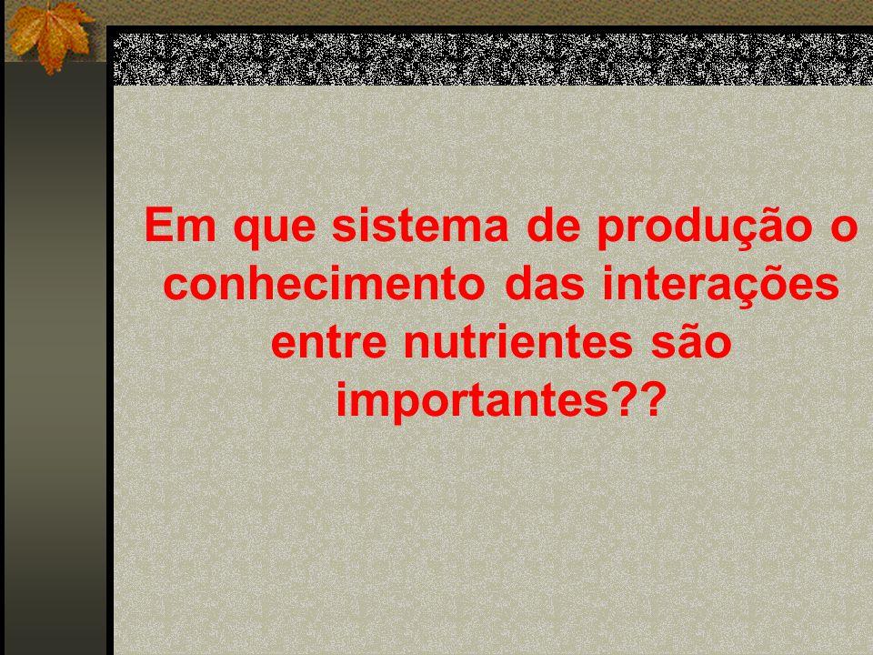 Em que sistema de produção o conhecimento das interações entre nutrientes são importantes??