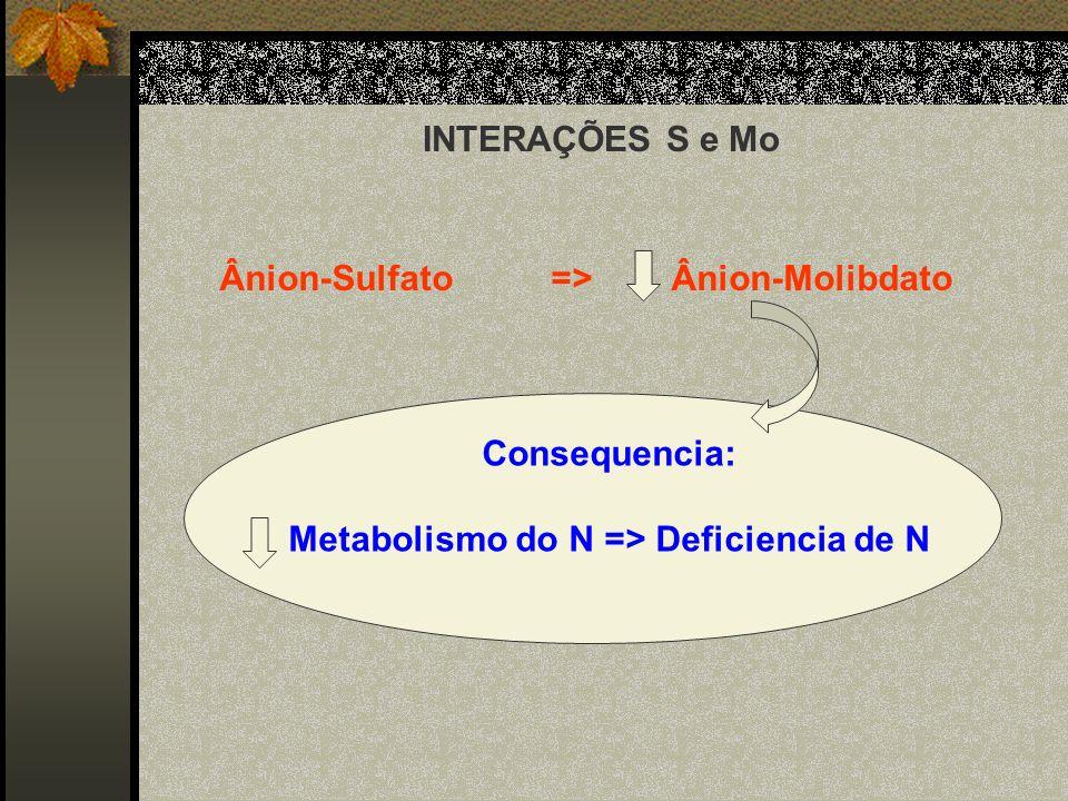 INTERAÇÕES S e Mo Ânion-Sulfato => Ânion-Molibdato Consequencia: Metabolismo do N => Deficiencia de N