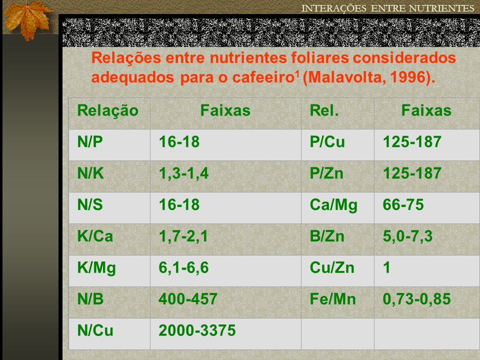 INTERAÇÕES ENTRE NUTRIENTES RelaçãoFaixasRel.Faixas N/P16-18P/Cu125-187 N/K1,3-1,4P/Zn125-187 N/S16-18Ca/Mg66-75 K/Ca1,7-2,1B/Zn5,0-7,3 K/Mg6,1-6,6Cu/
