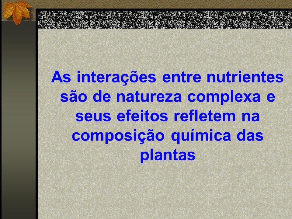 Os efeitos da interação variam em razão: proporção dos nutrientes; espécie/cv.; estádio desenvolvimento.