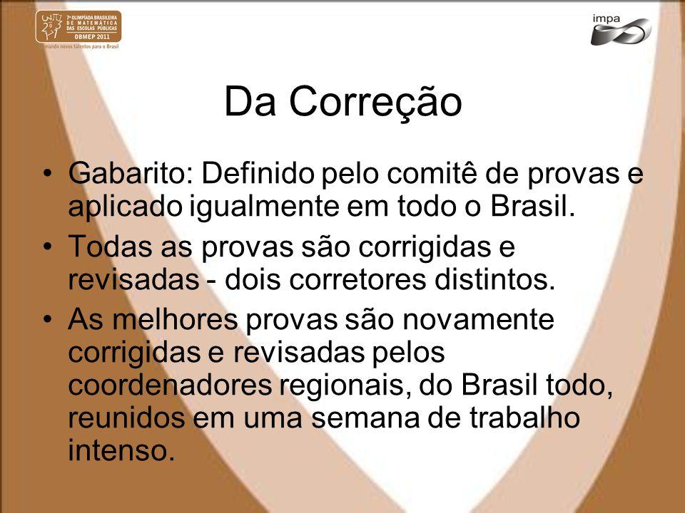 Da Correção Gabarito: Definido pelo comitê de provas e aplicado igualmente em todo o Brasil. Todas as provas são corrigidas e revisadas - dois correto