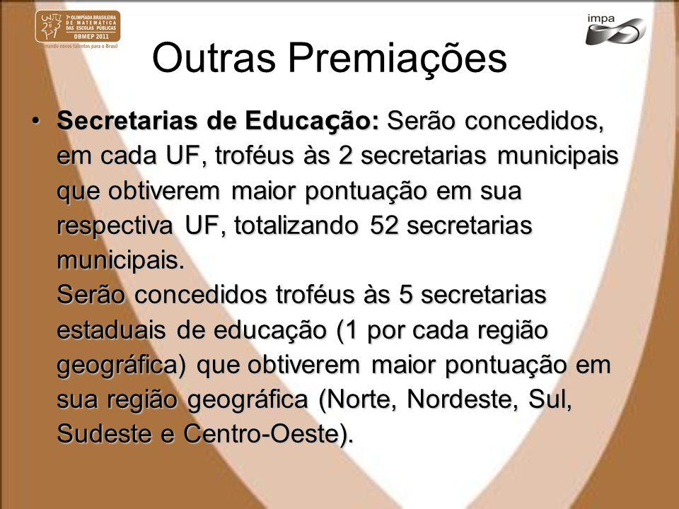 Outras Premiações Secretarias de Educa ç ão: Serão concedidos, em cada UF, troféus às 2 secretarias municipais que obtiverem maior pontuação em sua re