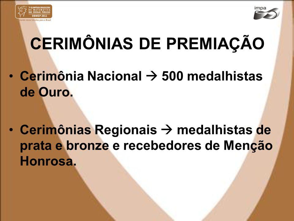 CERIMÔNIAS DE PREMIAÇÃO Cerimônia Nacional 500 medalhistas de Ouro. Cerimônias Regionais medalhistas de prata e bronze e recebedores de Menção Honrosa