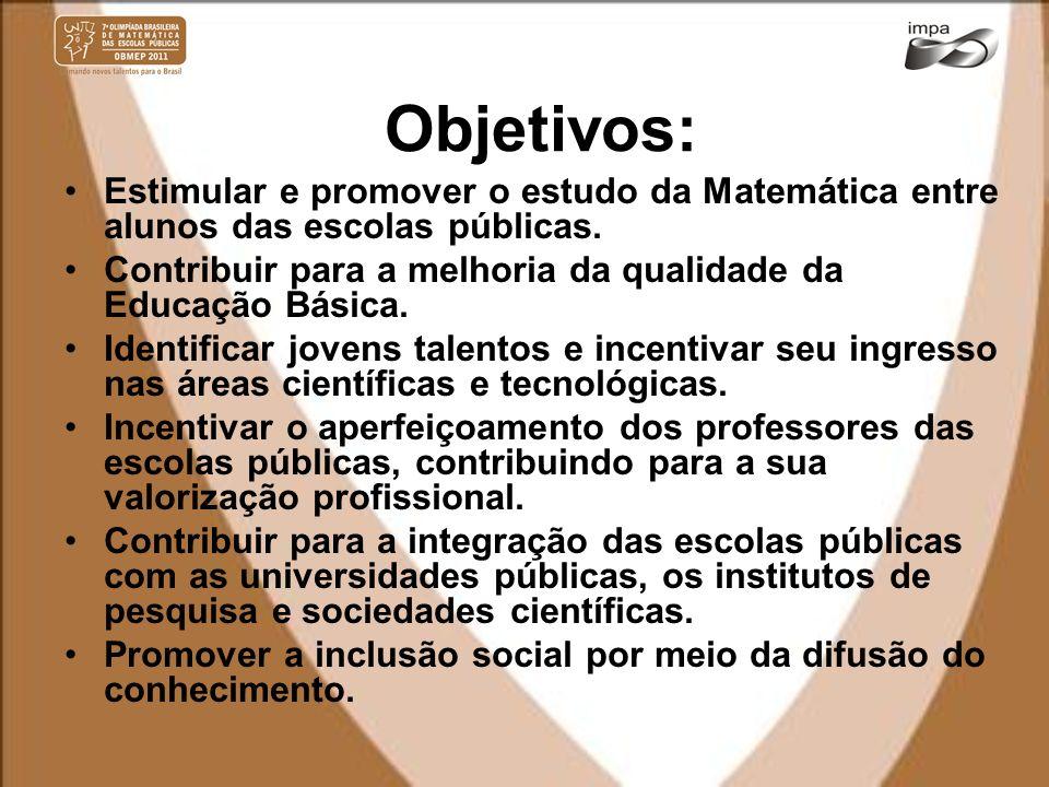 Objetivos: Estimular e promover o estudo da Matemática entre alunos das escolas públicas. Contribuir para a melhoria da qualidade da Educação Básica.