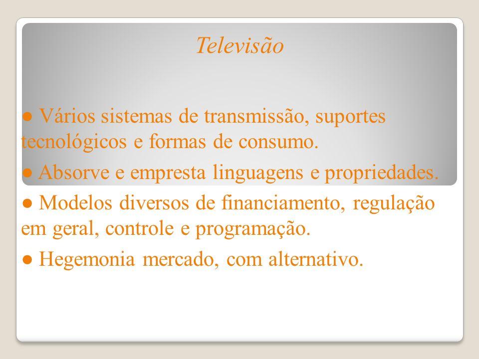 Televisão Vários sistemas de transmissão, suportes tecnológicos e formas de consumo. Absorve e empresta linguagens e propriedades. Modelos diversos de