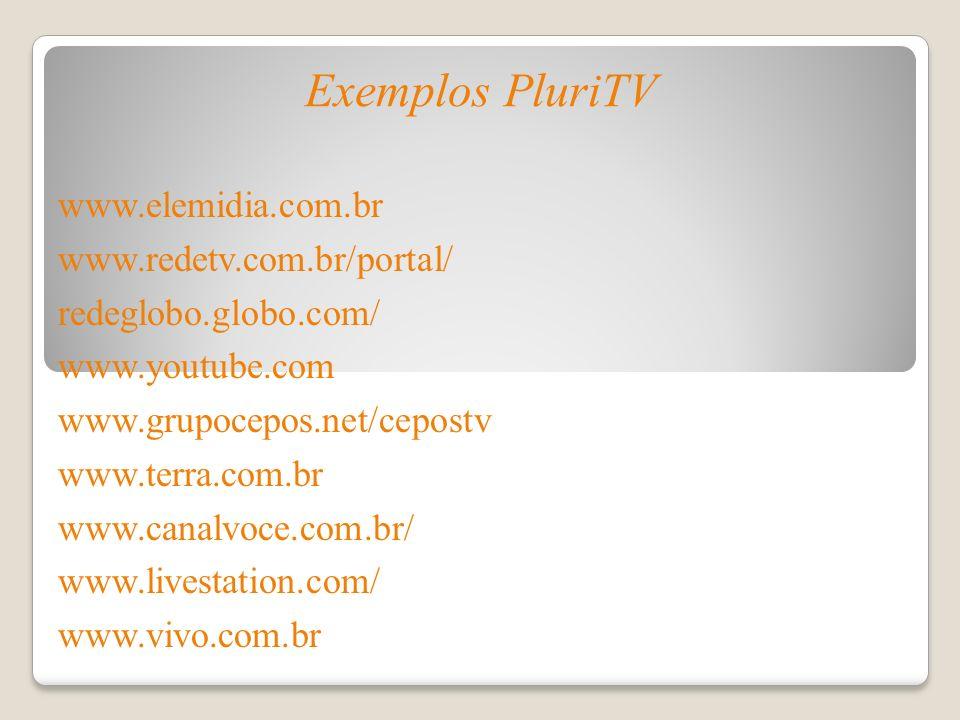 Exemplos PluriTV www.elemidia.com.br www.redetv.com.br/portal/ redeglobo.globo.com/ www.youtube.com www.grupocepos.net/cepostv www.terra.com.br www.ca