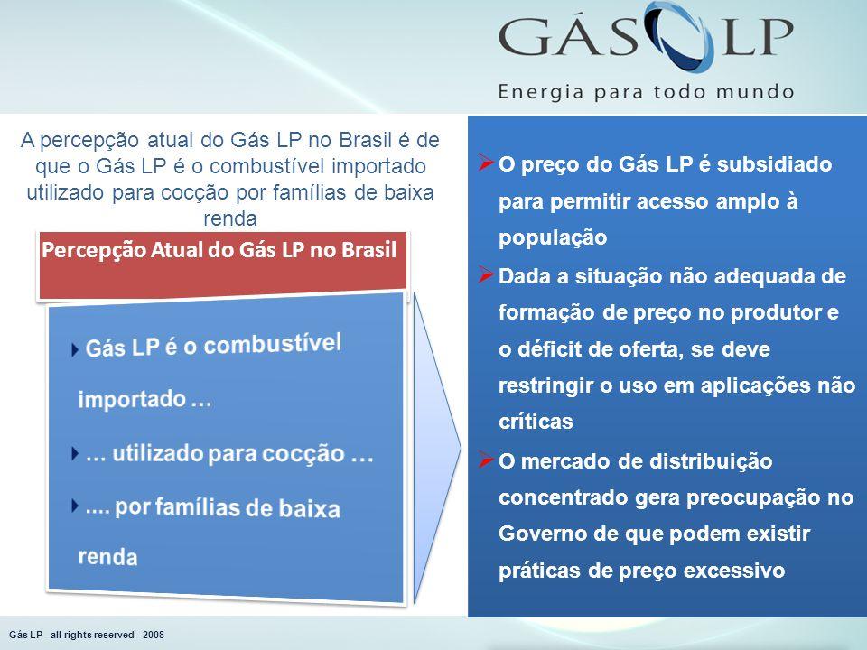 Gás LP - all rights reserved - 2008 A percepção atual do Gás LP no Brasil é de que o Gás LP é o combustível importado utilizado para cocção por famíli