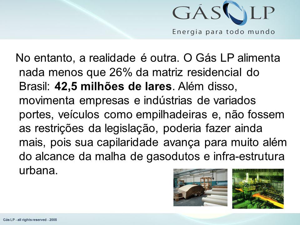 Gás LP - all rights reserved - 2008 Moderno Versátil Ecológico Seguro Transportável Limpo O desafio é entender que tudo isto é um investimento caro e de longo prazo.