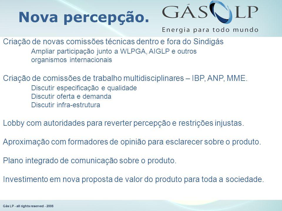 Gás LP - all rights reserved - 2008 Criação de novas comissões técnicas dentro e fora do Sindigás Ampliar participação junto a WLPGA, AIGLP e outros o