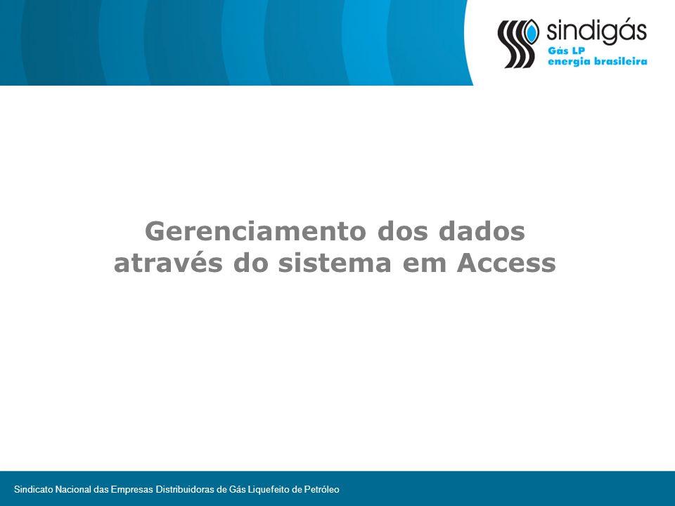 Gerenciamento dos dados através do sistema em Access Sindicato Nacional das Empresas Distribuidoras de Gás Liquefeito de Petróleo