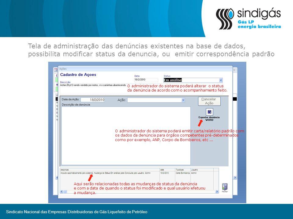 Tela de administração das denúncias existentes na base de dados, possibilita modificar status da denuncia, ou emitir correspondência padrão O administ