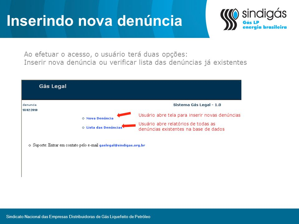 Inserindo nova denúncia Ao efetuar o acesso, o usuário terá duas opções: Inserir nova denúncia ou verificar lista das denúncias já existentes Usuário
