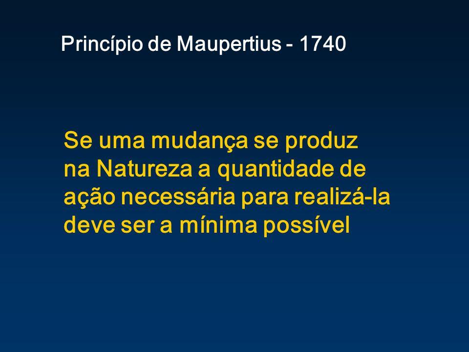 Se uma mudança se produz na Natureza a quantidade de ação necessária para realizá-la deve ser a mínima possível Princípio de Maupertius - 1740