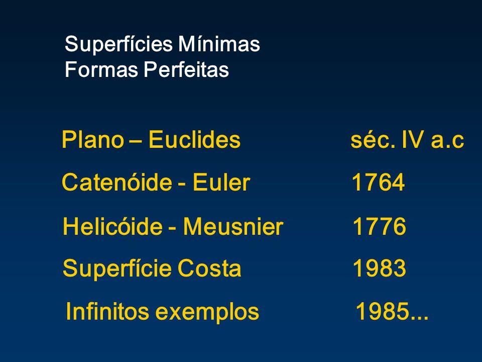 Infinitos exemplos 1985... Superfícies Mínimas Formas Perfeitas Plano – Euclidesséc. IV a.c Catenóide - Euler 1764 Helicóide - Meusnier 1776 Superfíci