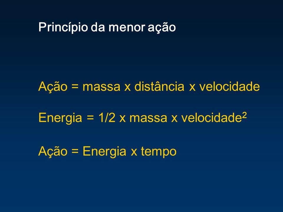 Princípio da menor ação Ação = massa x distância x velocidade Energia = 1/2 x massa x velocidade 2 Ação = Energia x tempo