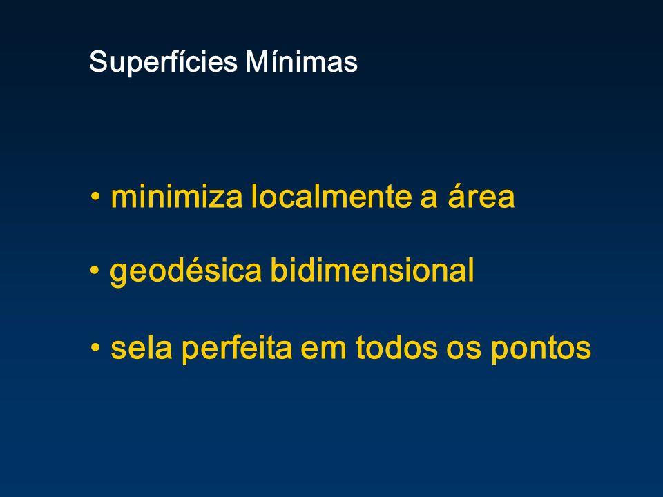 minimiza localmente a área Superfícies Mínimas geodésica bidimensional sela perfeita em todos os pontos