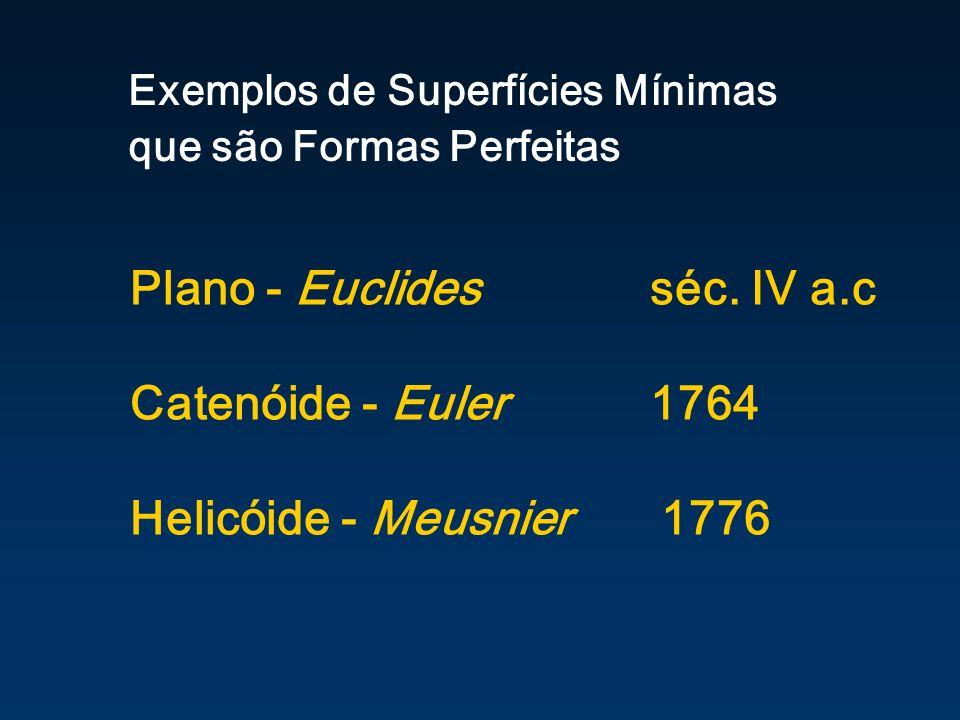 Plano - Euclides séc. IV a.c Catenóide - Euler 1764 Helicóide - Meusnier 1776 Exemplos de Superfícies Mínimas que são Formas Perfeitas