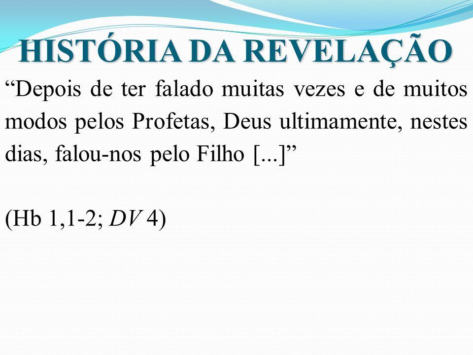 HISTÓRIA DA REVELAÇÃO Depois de ter falado muitas vezes e de muitos modos pelos Profetas, Deus ultimamente, nestes dias, falou-nos pelo Filho [...] (Hb 1,1-2; DV 4)