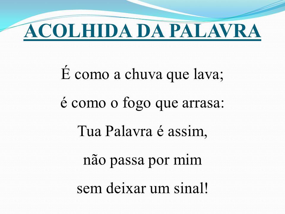 ACOLHIDA DA PALAVRA É como a chuva que lava; é como o fogo que arrasa: Tua Palavra é assim, não passa por mim sem deixar um sinal!