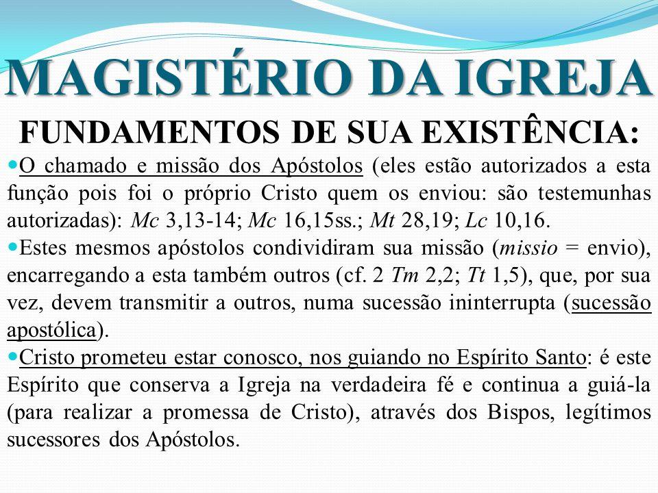MAGISTÉRIO DA IGREJA FUNDAMENTOS DE SUA EXISTÊNCIA: O chamado e missão dos Apóstolos (eles estão autorizados a esta função pois foi o próprio Cristo quem os enviou: são testemunhas autorizadas): Mc 3,13-14; Mc 16,15ss.; Mt 28,19; Lc 10,16.