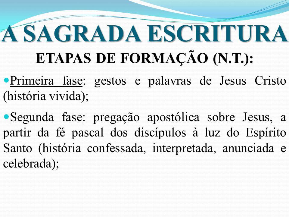A SAGRADA ESCRITURA ETAPAS DE FORMAÇÃO (N.T.): Primeira fase: gestos e palavras de Jesus Cristo (história vivida); Segunda fase: pregação apostólica s