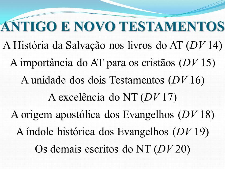 ANTIGO E NOVO TESTAMENTOS A História da Salvação nos livros do AT (DV 14) A importância do AT para os cristãos (DV 15) A unidade dos dois Testamentos (DV 16) A excelência do NT (DV 17) A origem apostólica dos Evangelhos (DV 18) A índole histórica dos Evangelhos (DV 19) Os demais escritos do NT (DV 20)